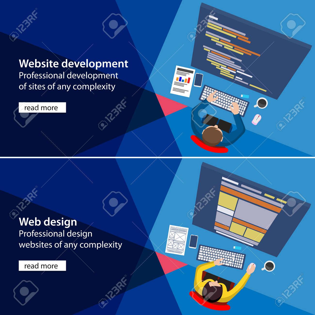 Flat Website Development And Design Process Illustration. Material ...