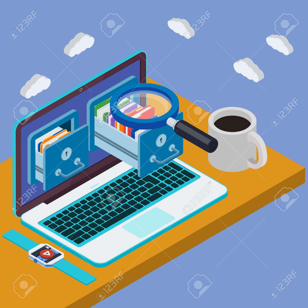 Schreibtisch Mit Laptop 3d Datenbankspeicherserver Geschäftsmann