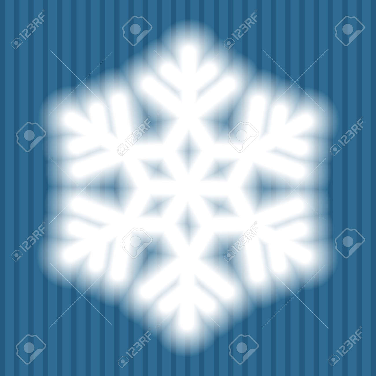 a18af64bfd Big white snowflake with soft translucent edges on blue striped background.  Transparency only in vector