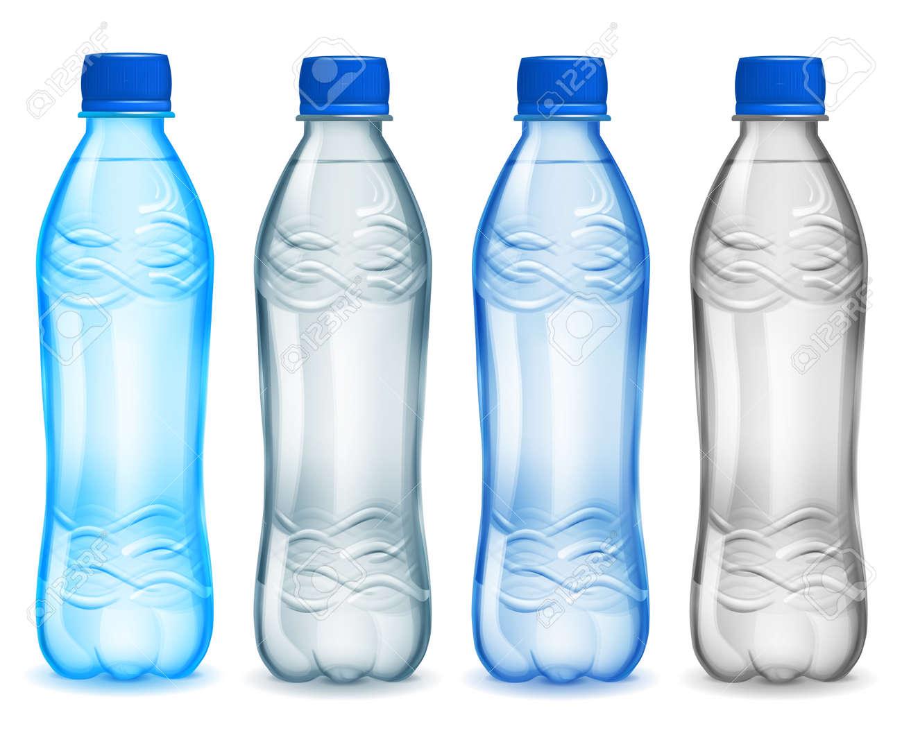 conjunto de botellas de plstico con agua mineral botellas en colores azul gris azul