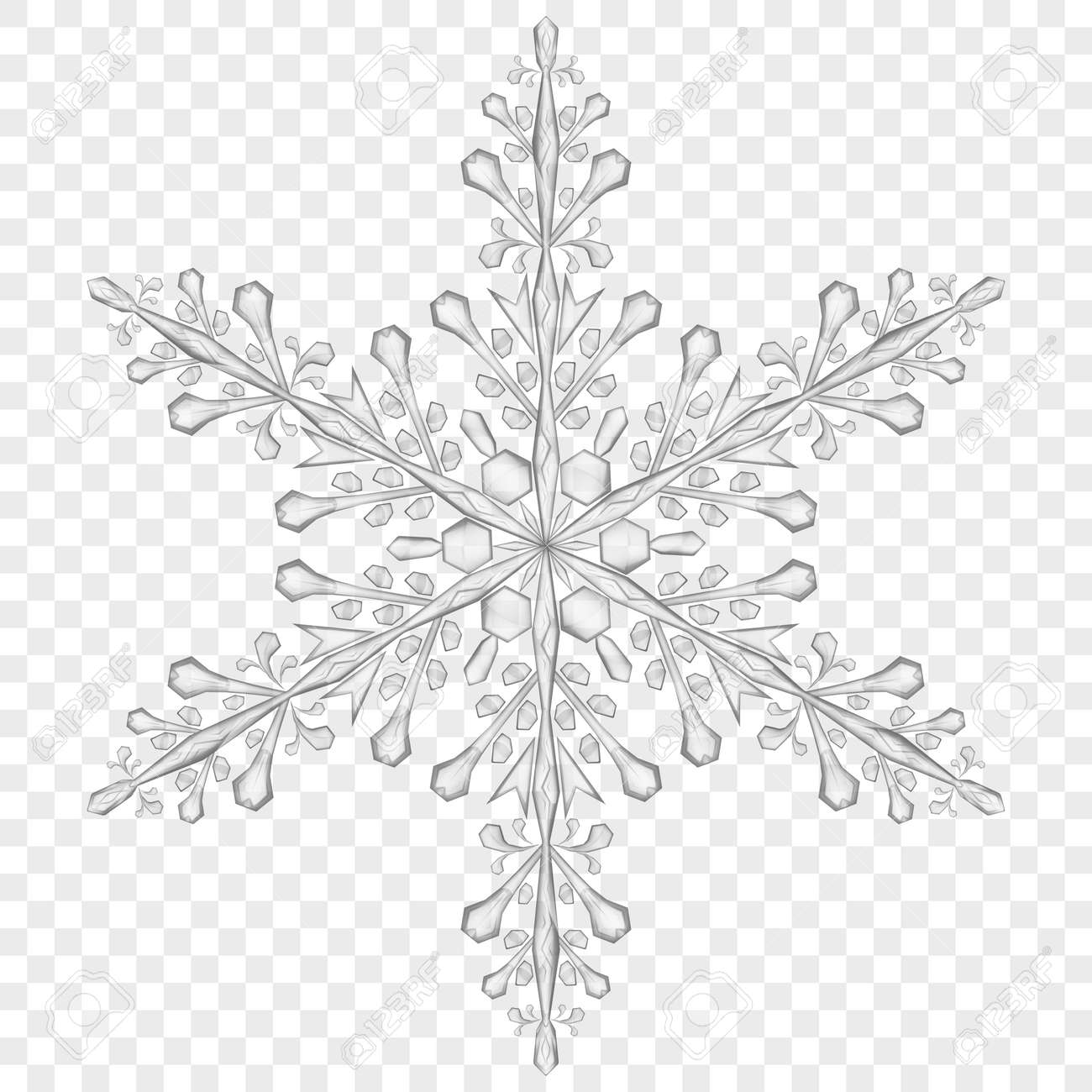Big Translucent Christmas Snowflake In Gray Colors On Transparent ... for Snowflake Clipart Transparent Background  45hul