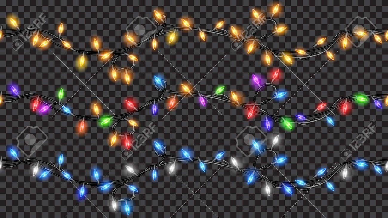 Christmas Fairy Lights Transparent.Set Of Christmas Festive Decorations Colored Translucent Fairy