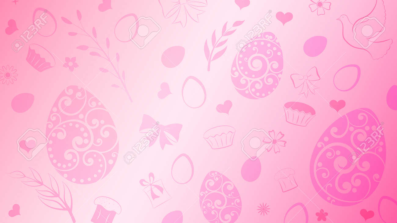Background of eggs, flowers, cake, gift box and other Easter symbols in pink colors - 124838831