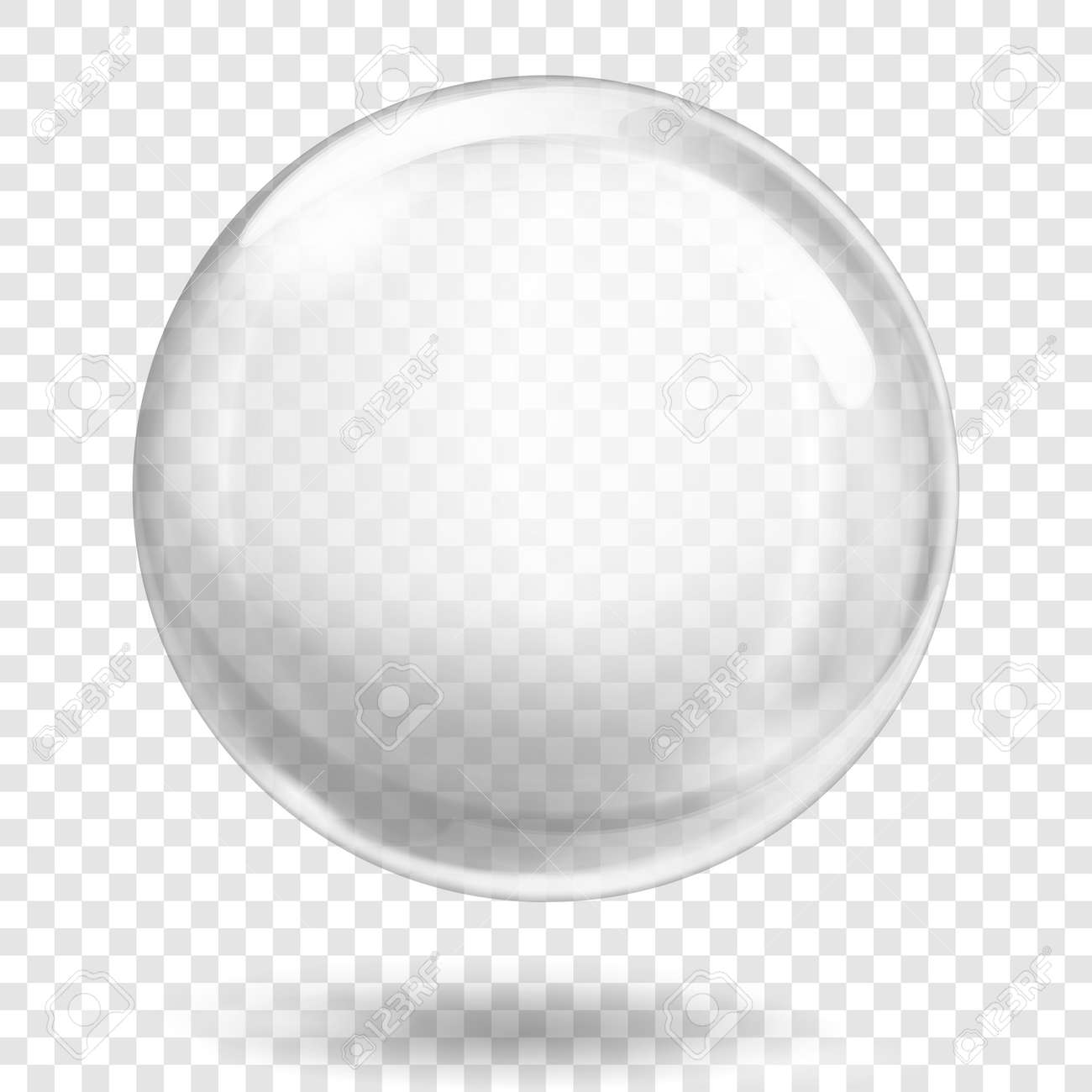 Big translucent white sphere with glares and shadow on transparent background. Transparency only in vector format - 123432587