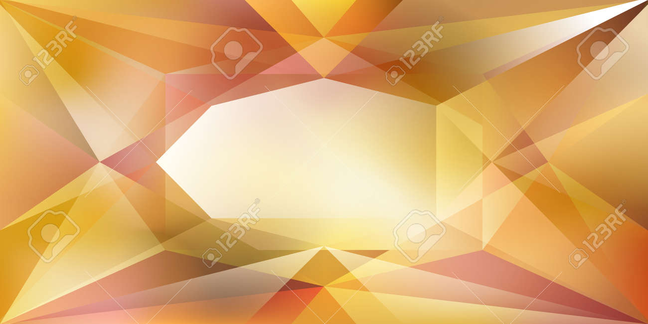 Abstract crystal background with refracting light and highlights in yellow colors - 134069339
