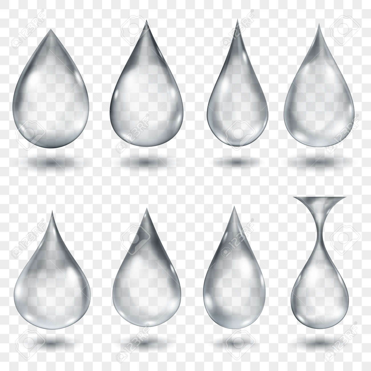 Set of translucent water drops in gray colors in various shapes, isolated on transparent background. Transparency only in vector format - 140108996