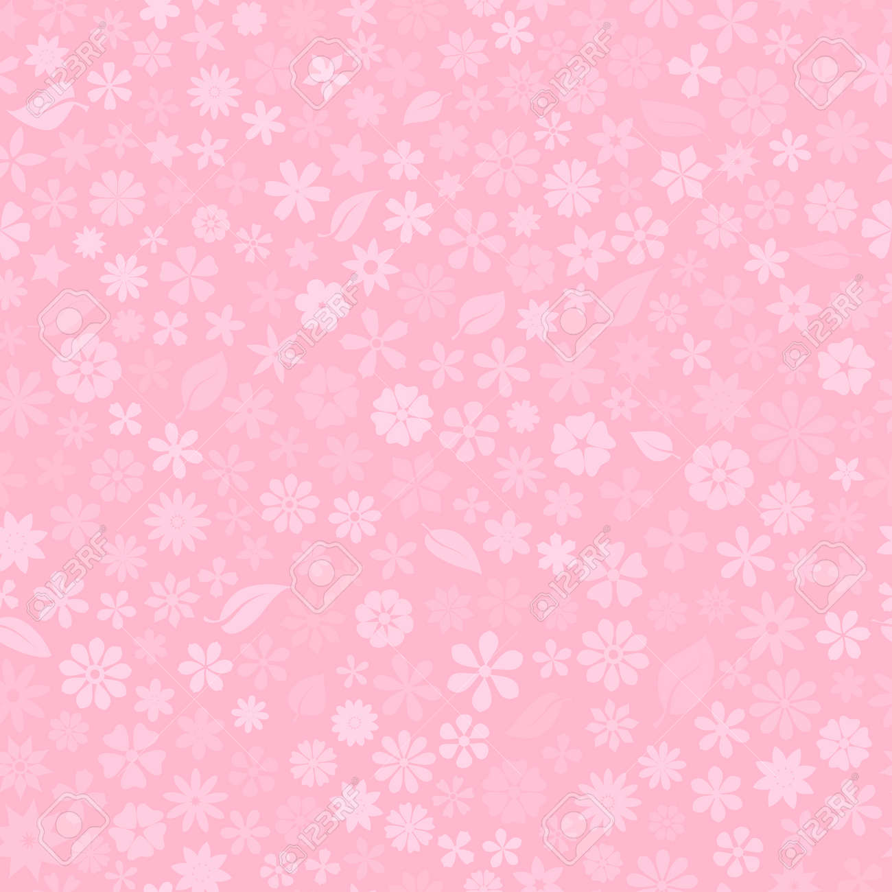 Seamless pattern with floral texture of small flowers in pink colors - 141989637