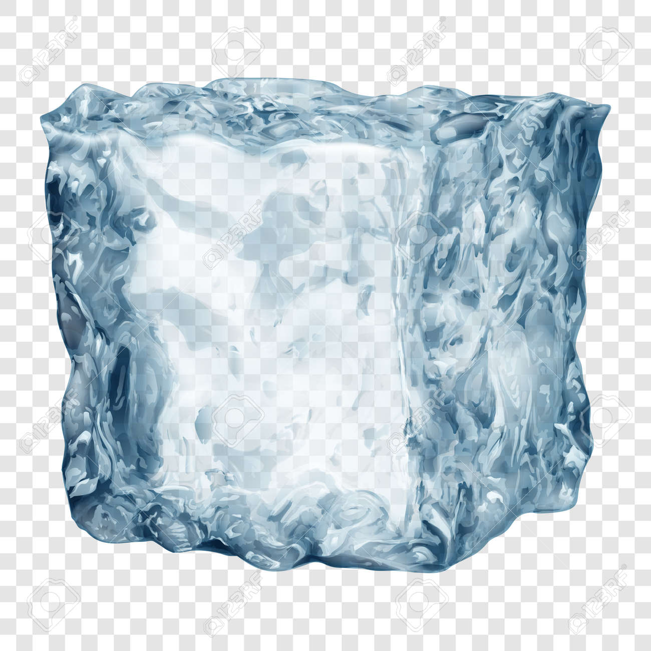 Realistic translucent ice cube in light blue color isolated on transparent background. Transparency only in vector format - 143314508