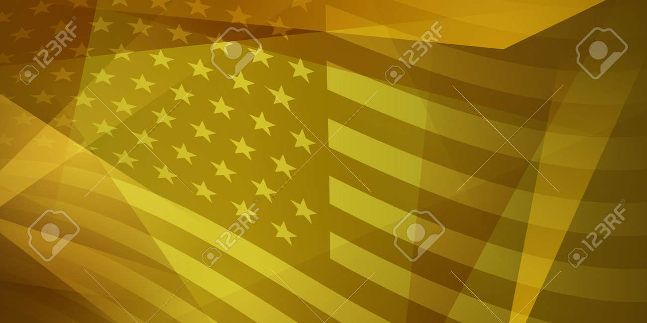 USA independence day abstract background with elements of the american flag in yellow colors - 146169629