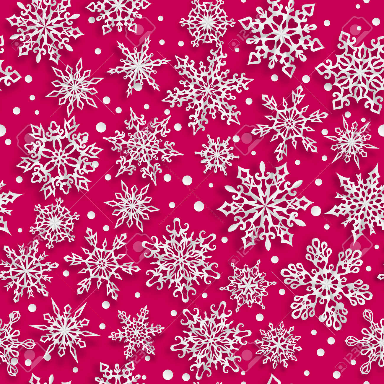 Christmas seamless pattern of paper snowflakes with soft shadows on red background - 152305323