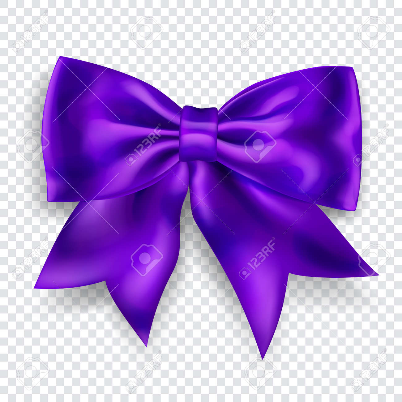 Beautiful big bow made of purple ribbon with shadow on transparent background. Transparency only in vector format - 155653189