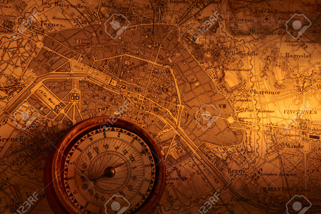 Old Map Of Paris With Compass Stock Photo Picture And Royalty - Us map w compas
