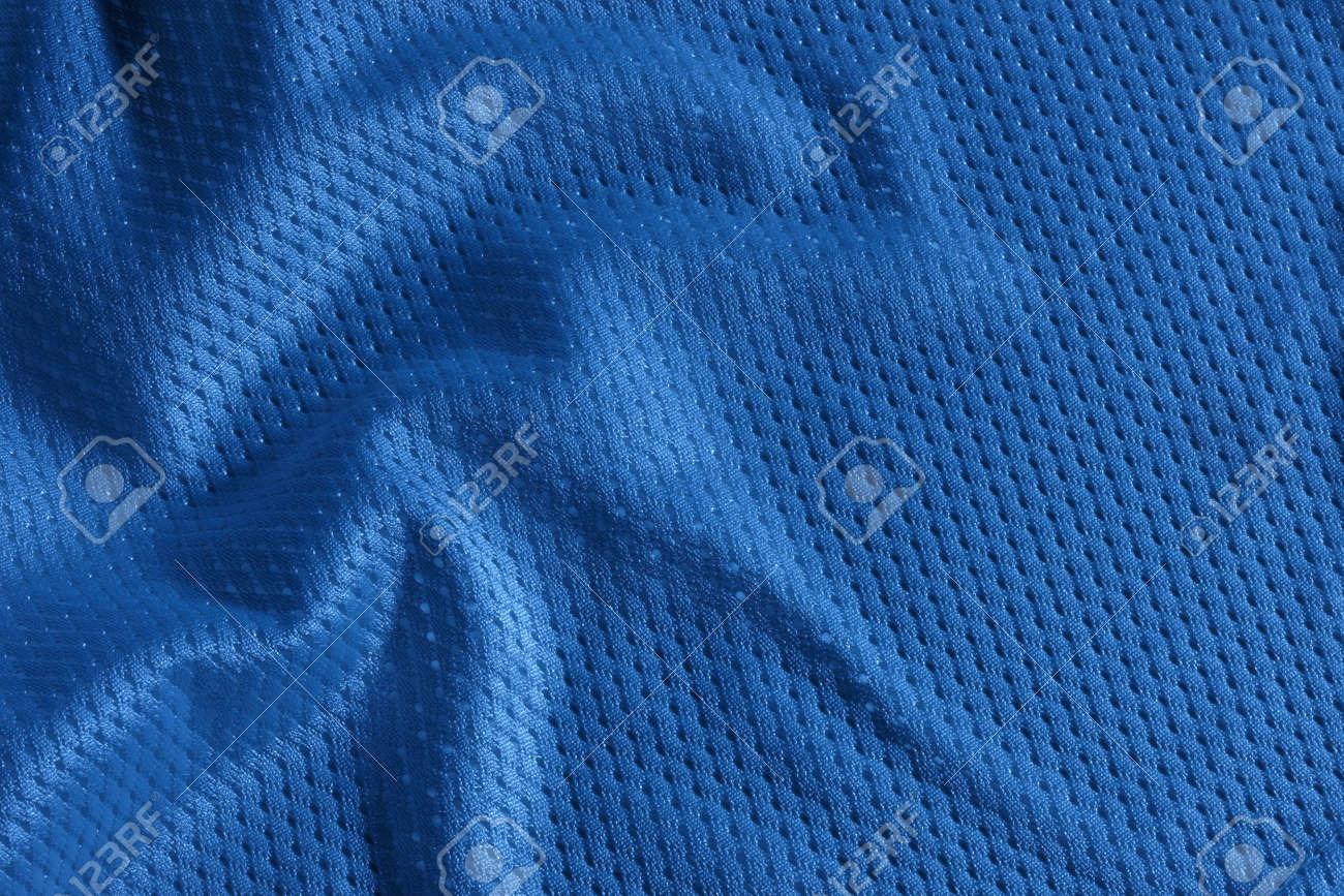 Close up shot of blue textured football jersey Stock Photo - 5867539