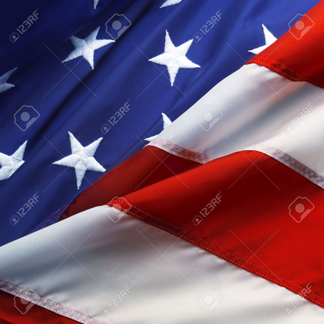 dd9cd2d76d7 Macro shot of stars and stripes of an american flag Stock Photo - 6104350