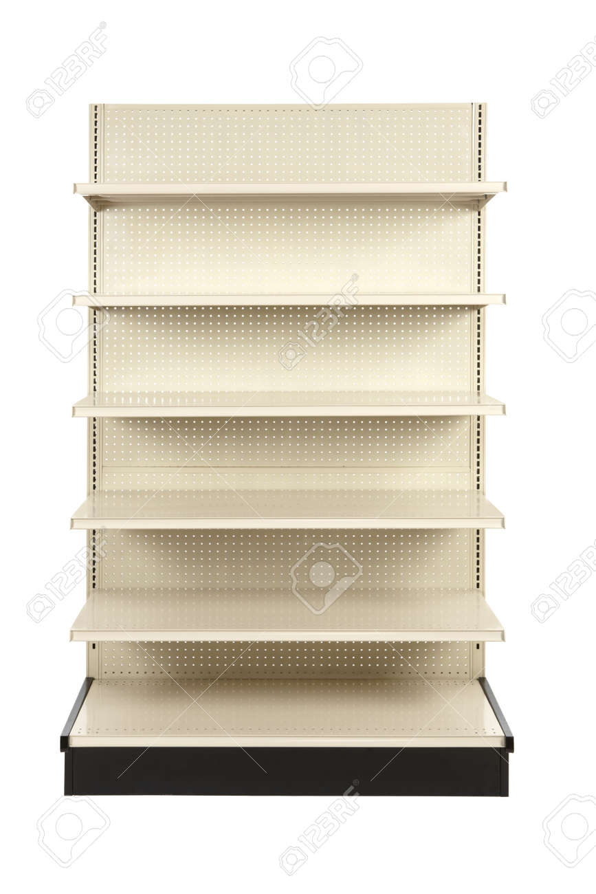 Empty retail store shelf shot in studio and silhouetted Stock Photo - 8307564