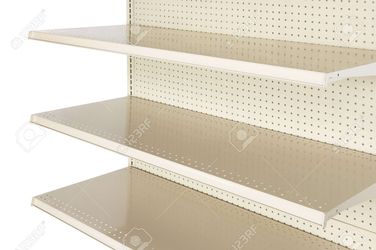 Close-up of empty retail store shelf shot in studio and silhouetted Stock Photo - 8307563
