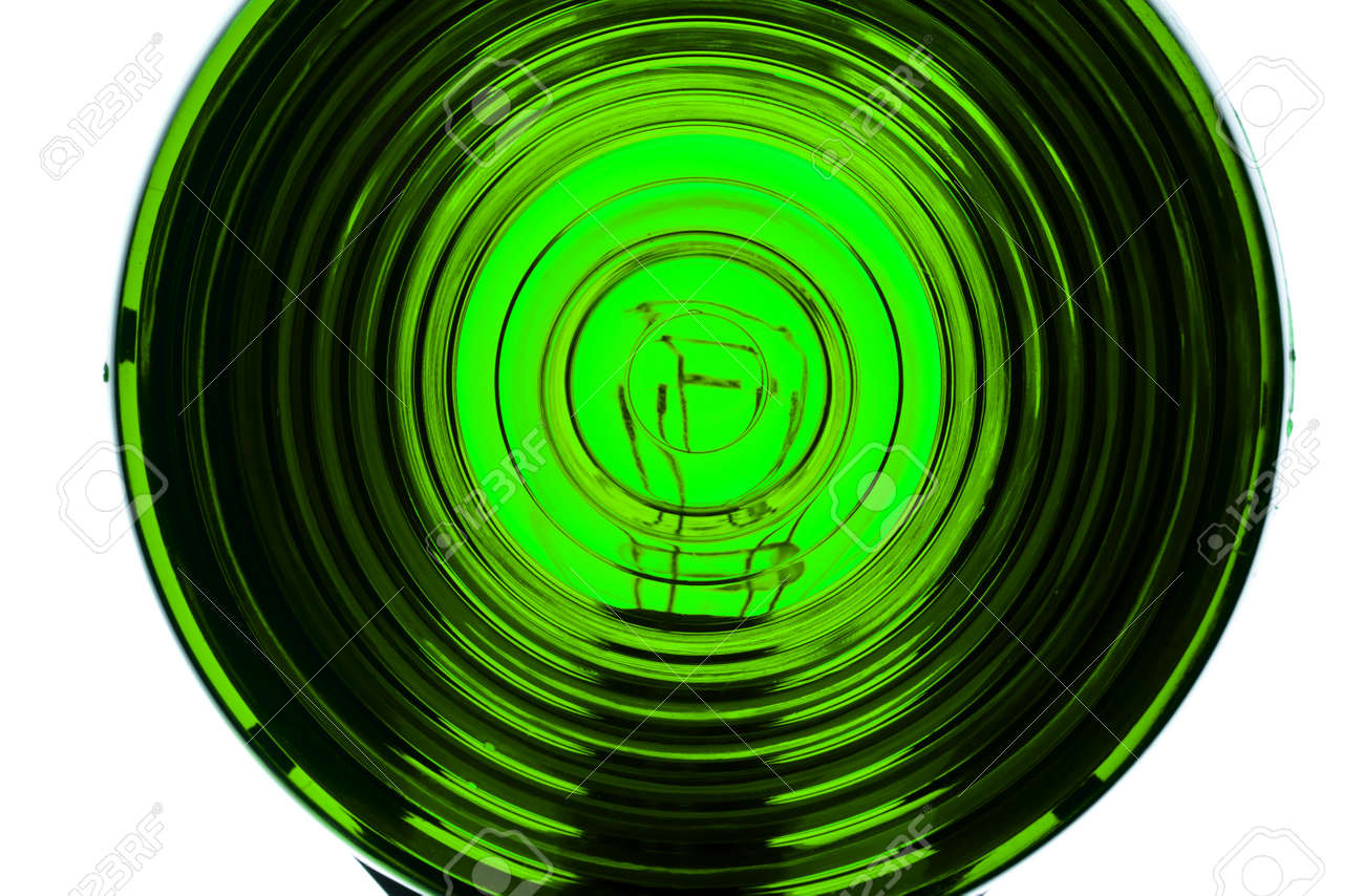 Extreme close up of lens from an illuminated Green light Stock Photo - 8651570