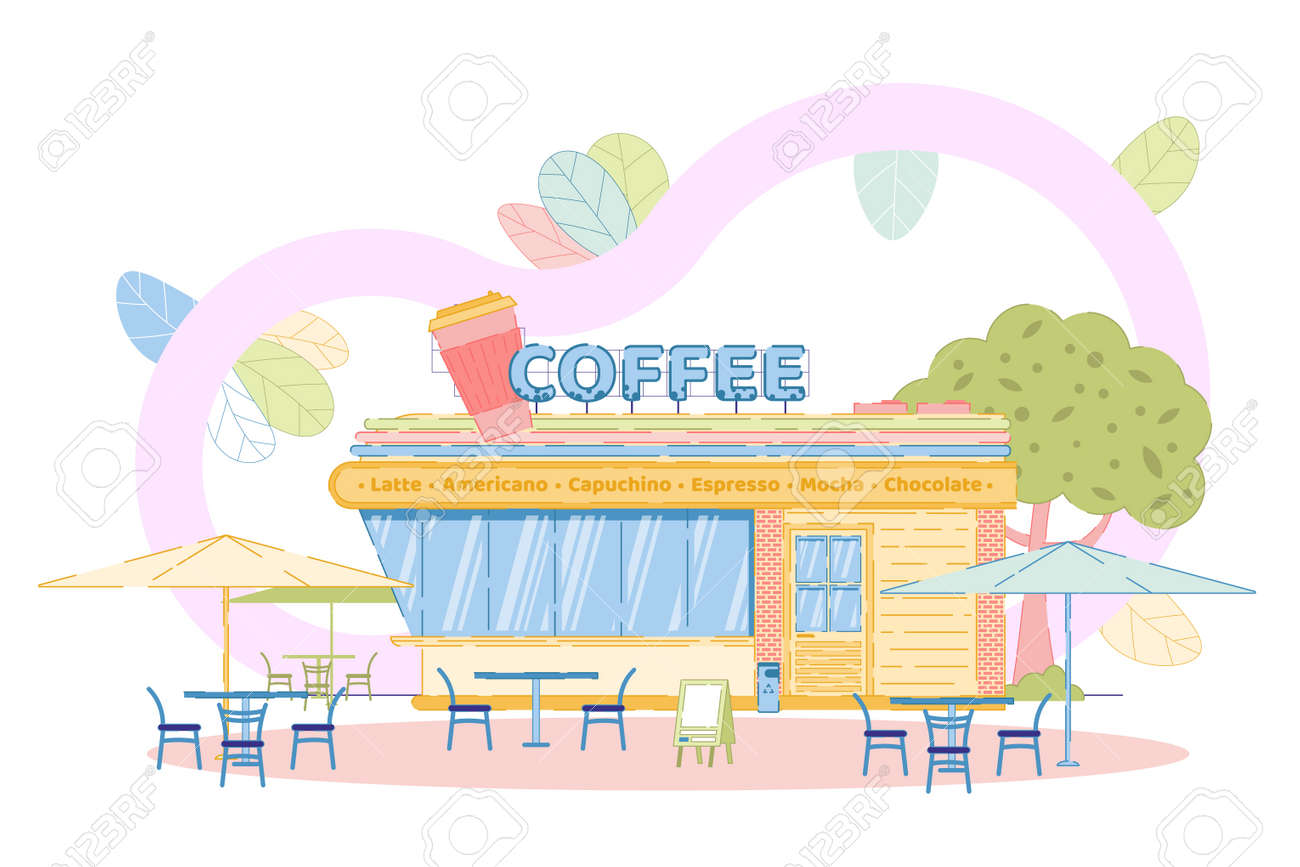 Coffee Shop Exterior With Outdoors Seats On Terrace Modern Facade Royalty Free Cliparts Vectors And Stock Illustration Image 144482107