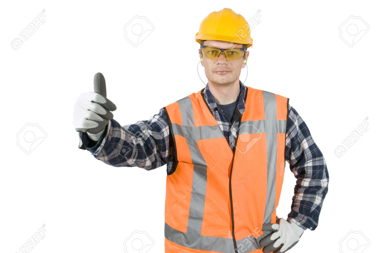 a construction worker wearing the proper safety garments giving a construction worker wearing the proper safety garments giving a thumbs up