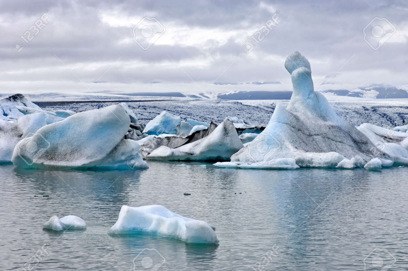 The famous Jokulsarlon glacier lake in Iceland, where the icebergs, originating from the Vatnajokull float. This location was used for various action movies. Stock Photo - 3461086