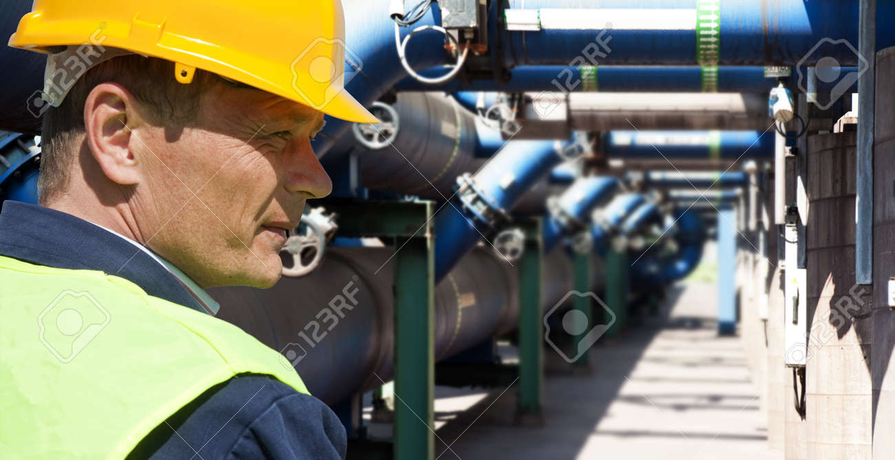 Maintenance engineer at the waste water management system of a huge factory Stock Photo - 10779437