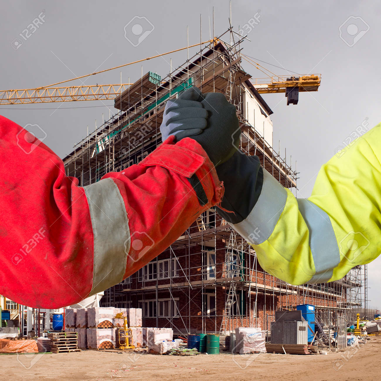 Conceptual image about agreements between contractors, and subcontractors in real estate building project Standard-Bild - 33818787