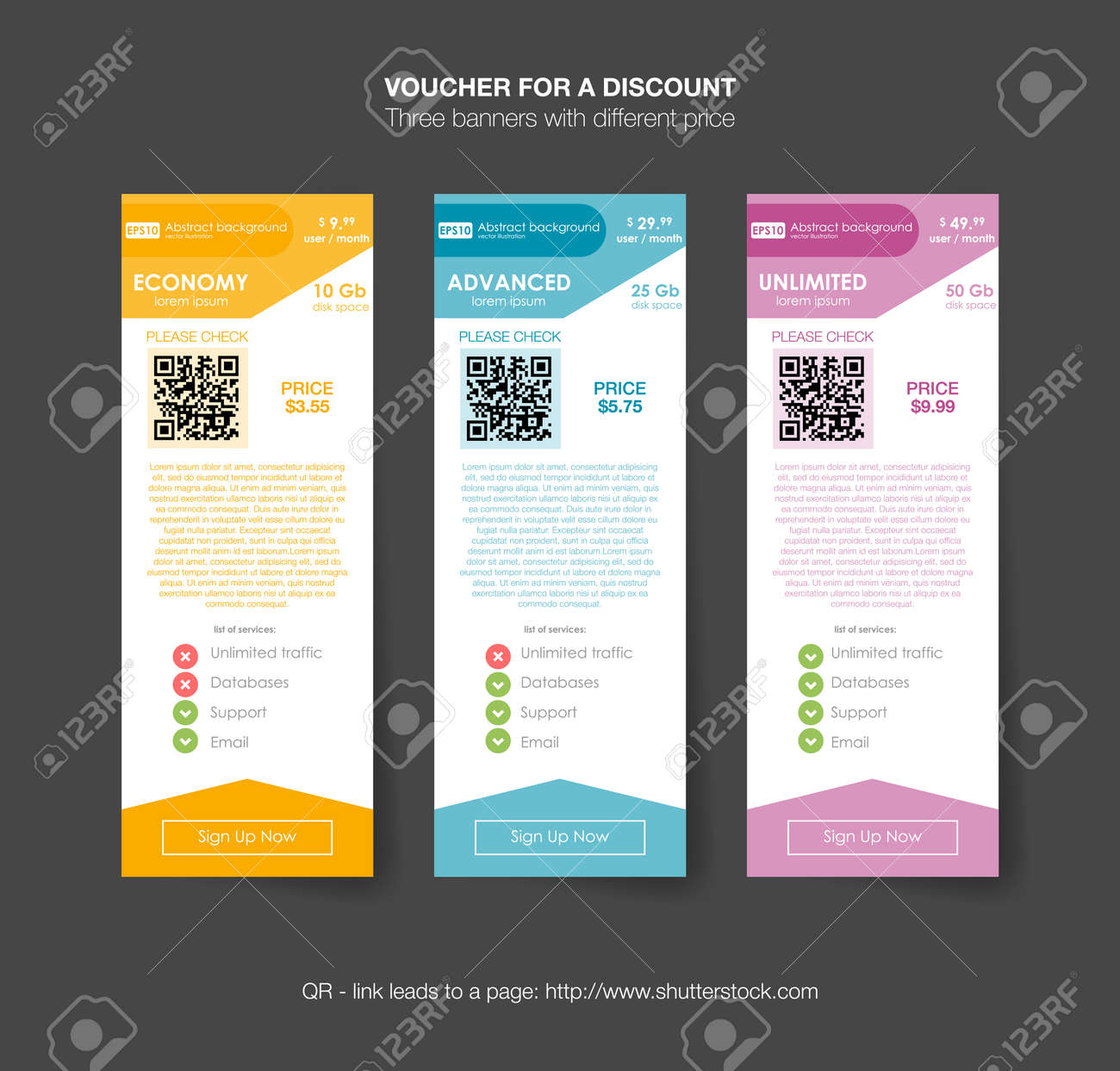 pricing table template with three plan type. graphic design on