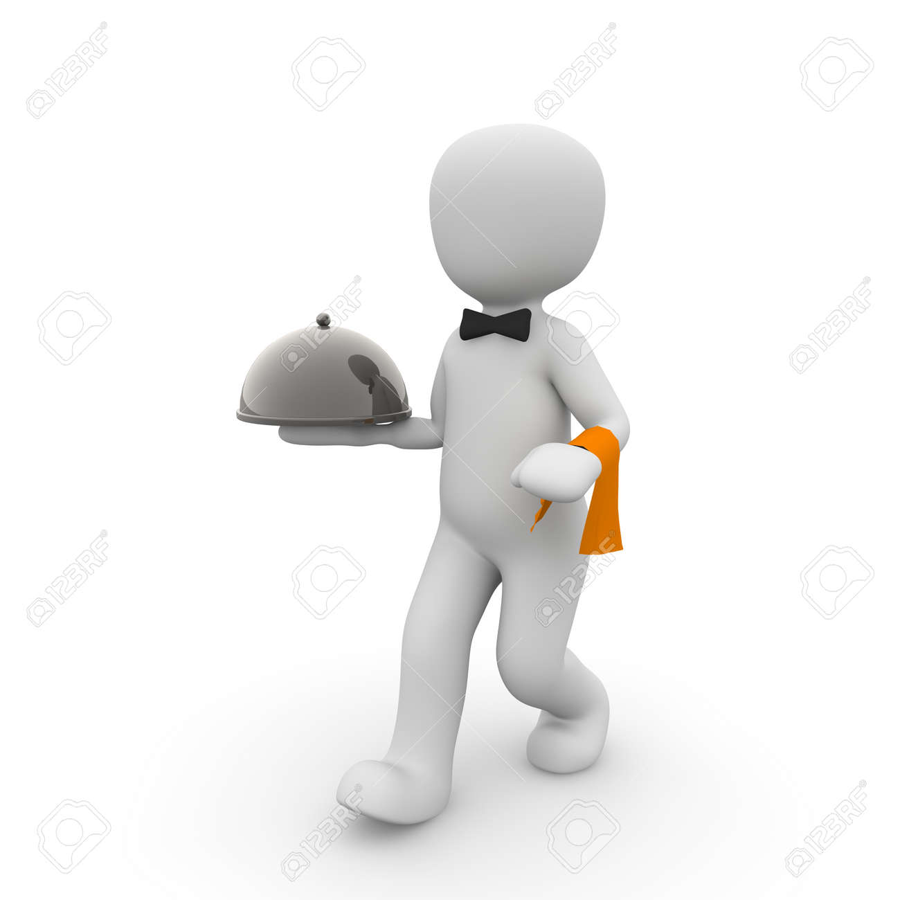 The waiter working for the landlord. Who will not be host. Stock Photo - 18811758