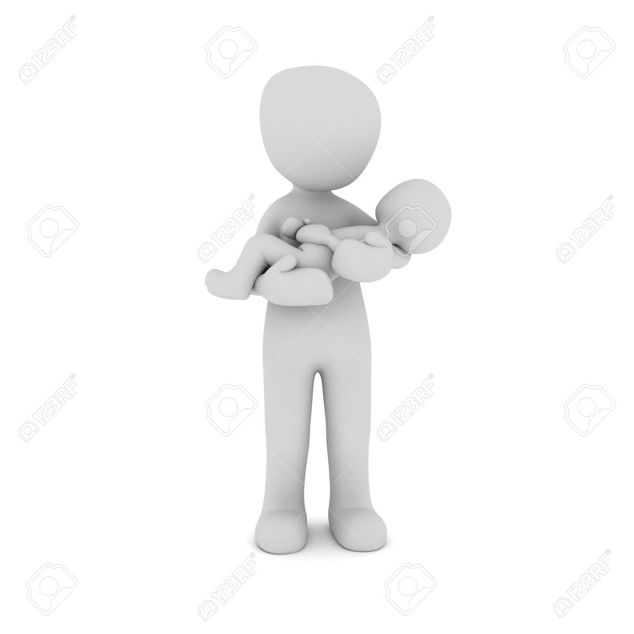 A 3D character has his child in their arms. Stock Photo - 19774100