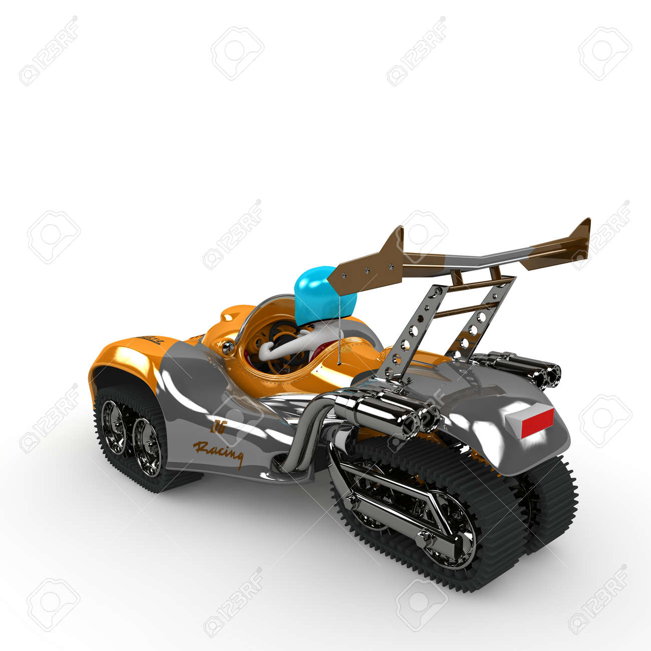 A racing driver in an orange vehicle wants to win the race. Stock Photo - 20038364