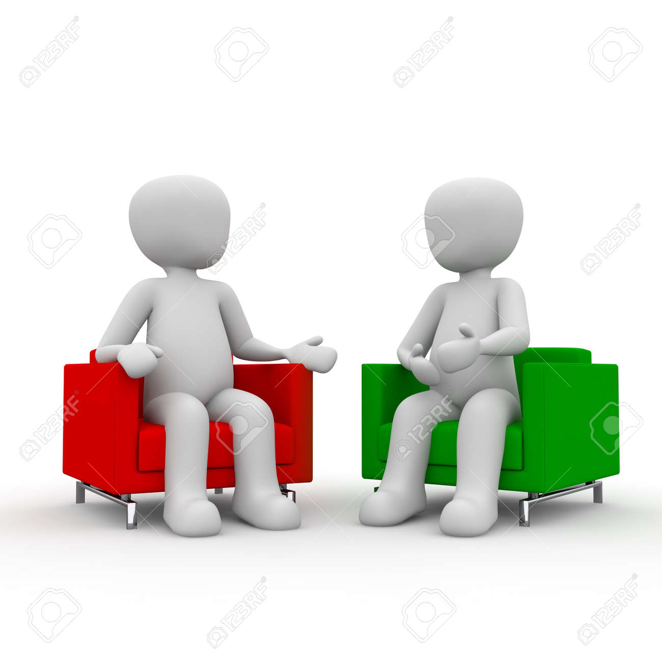Two Characters Are Talking In The Living Room Of The Right Characters.  Stock Photo, Picture And Royalty Free Image. Image 20170459.