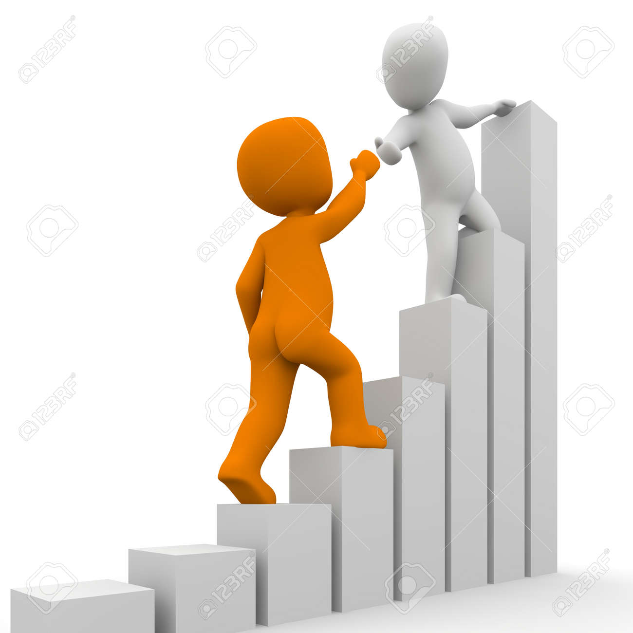 The Characters Help Each Other To Climb The Earl. Stock Photo ...