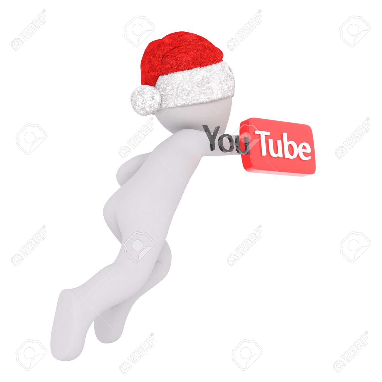 3d Figur In Santa Hut Betrieb Mit YouTube Zeichen Auf Weißem ...