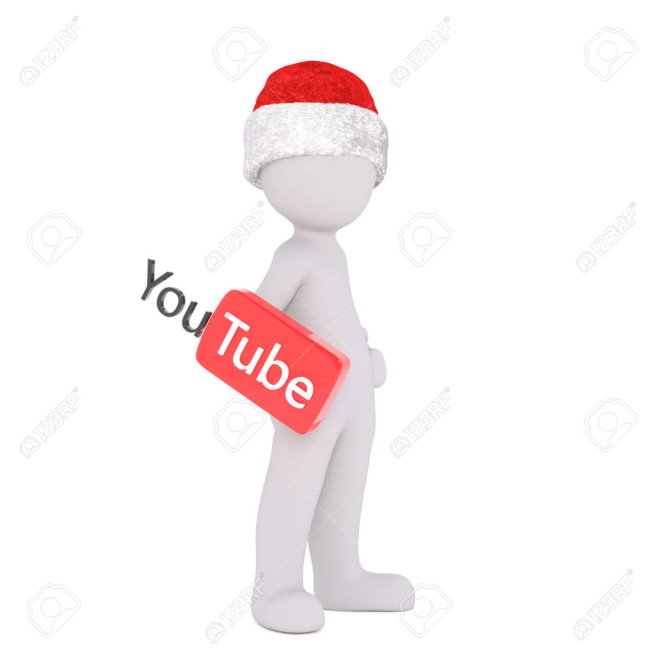 ab4114980b361 Full boy 3d toon in Santa hat with YouTube sign on white Stock Photo -  67801062