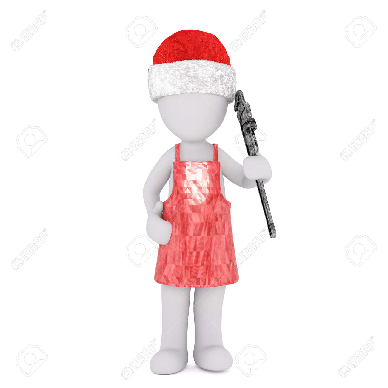 Full Body 3d Toon In Kitchen Apron And Santa Hat With Wrench ...