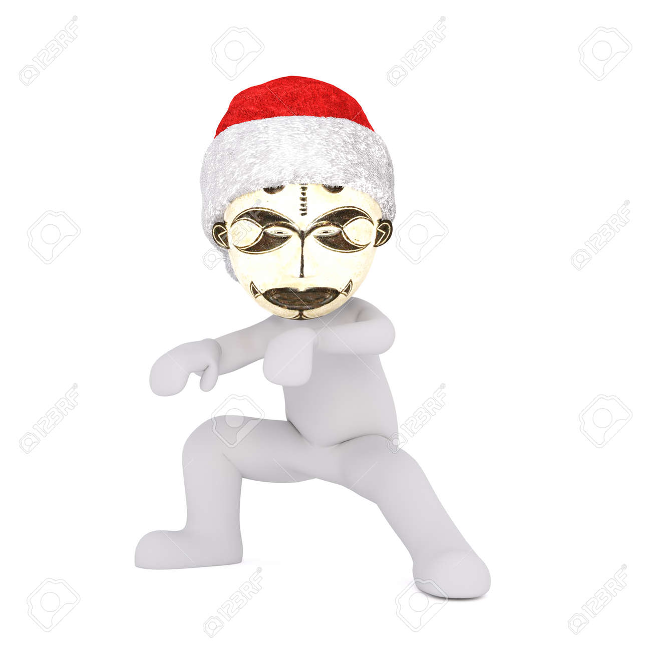 9d0bc46dd1787 Crouching 3D figure wearing tribal mask and santa hat stares at camera  against a white background