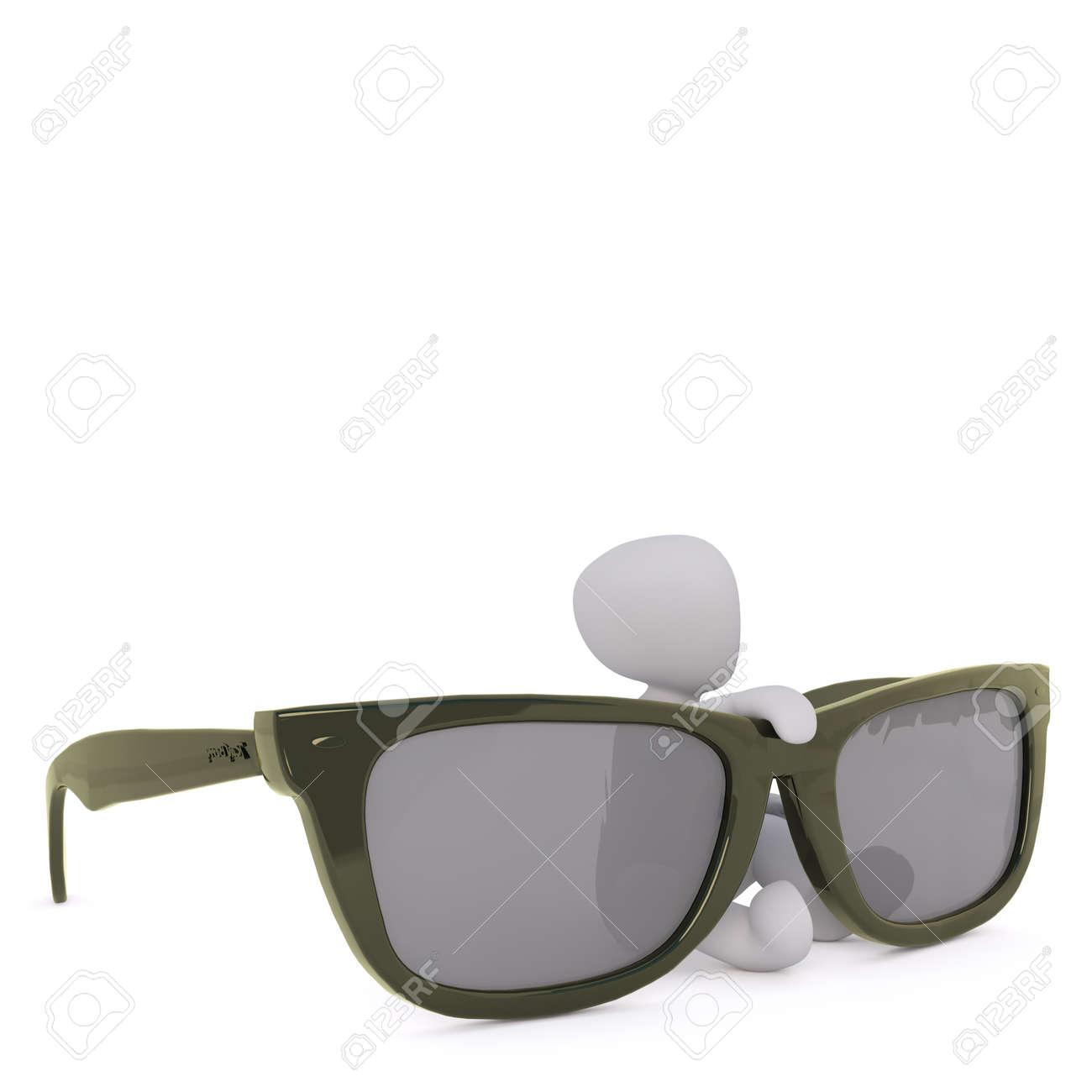 3D Render Faceless Cartoon Man Sitting Behind Huge Black Sunglasses ... ac3e7dab8