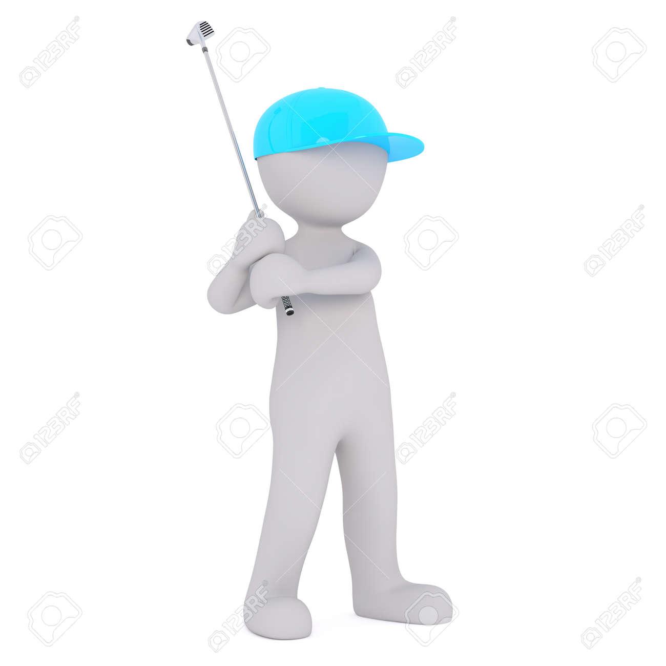 9808bbfc515a Cute little 3d rindió el hombre de dibujos animados con una gorra de  béisbol azul jugando una ronda de golf levantando el club para tomar el tiro