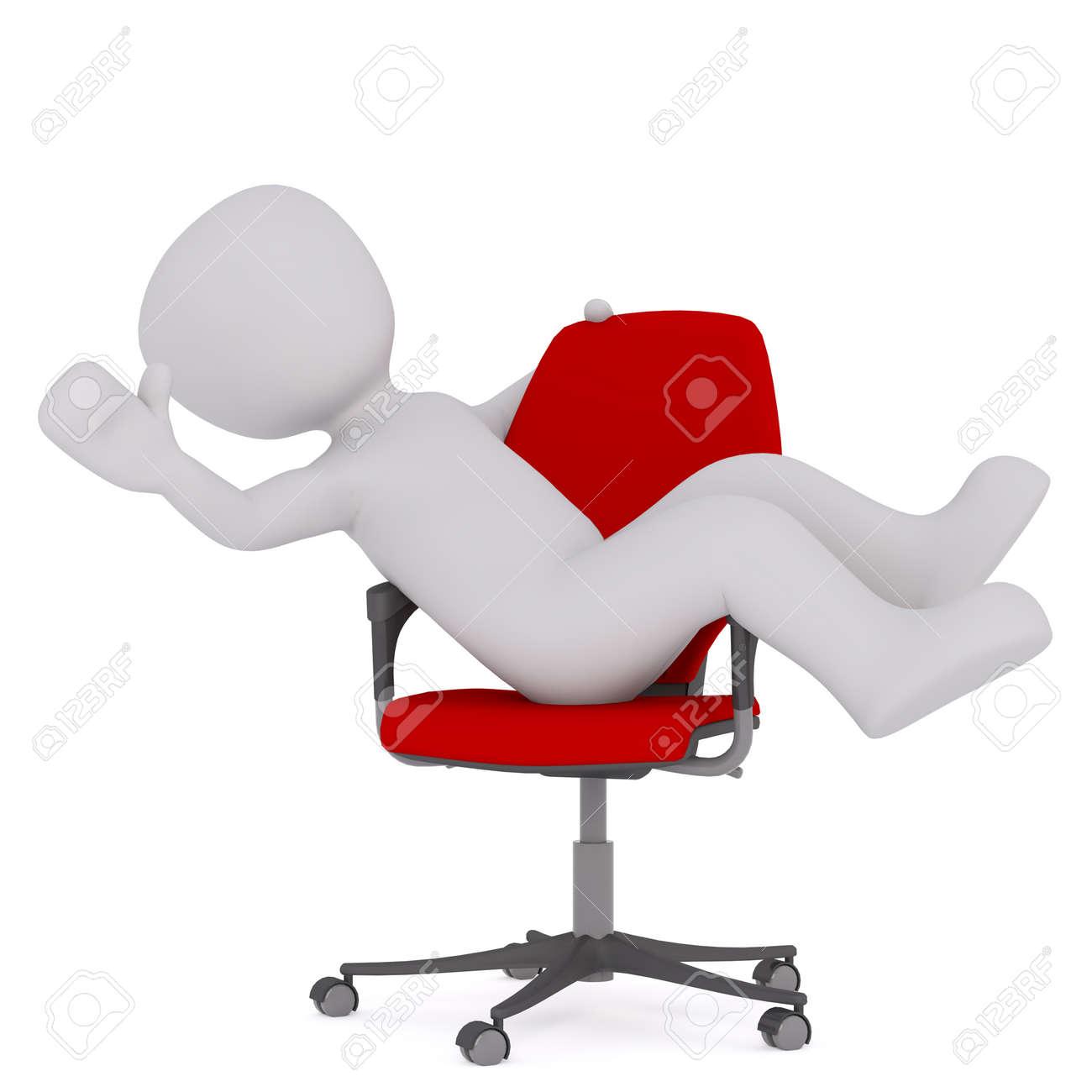 Banque dimages générique grey 3d cartoon figure reclining confortablement en peluche red office chair en face de fond blanc
