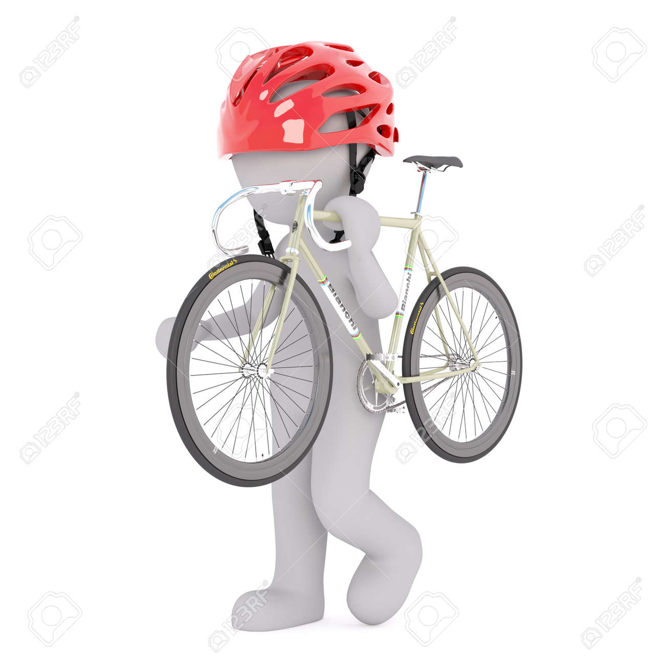 Figure of faceless 3D man in cycling helmet carrying racing road