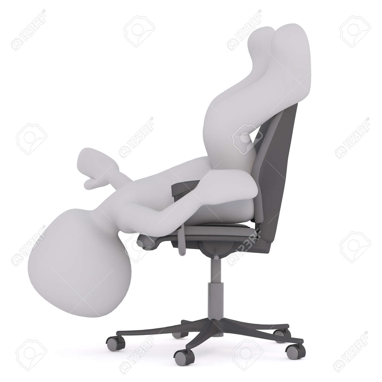 Figure Of Faceless 3D Man Laying On His Back In Office Chair With Head Hanging  Upside