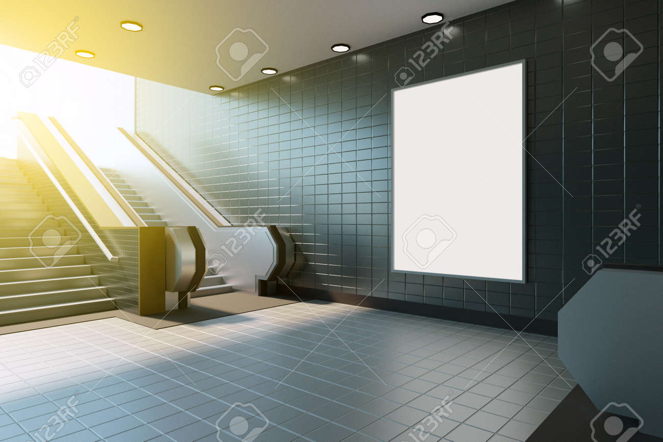 Mock Up Poster Media Template Ads Display In Subway Station - Mediatemplate