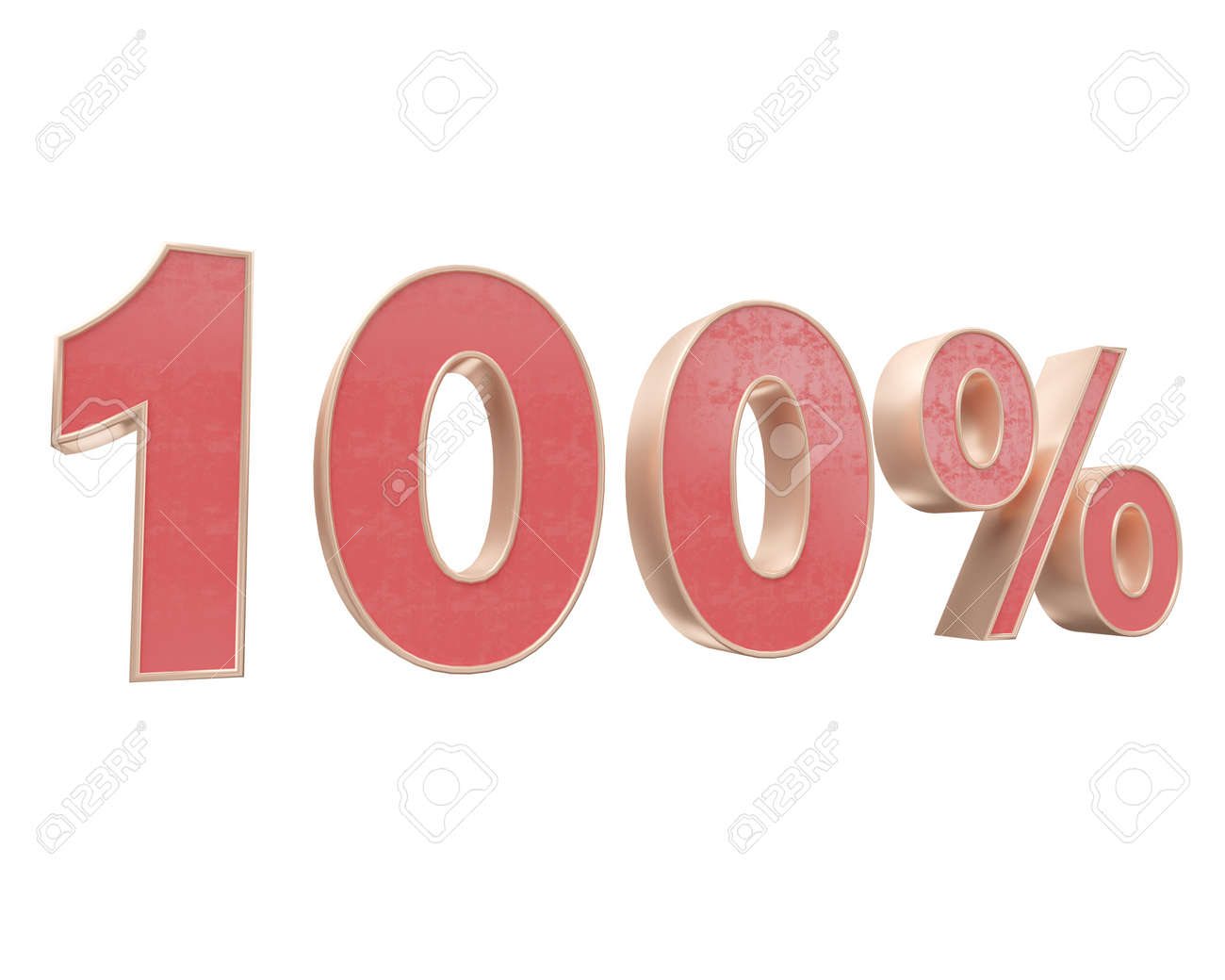 Red Gold Digit Percent Discount 3d Render White Background Price