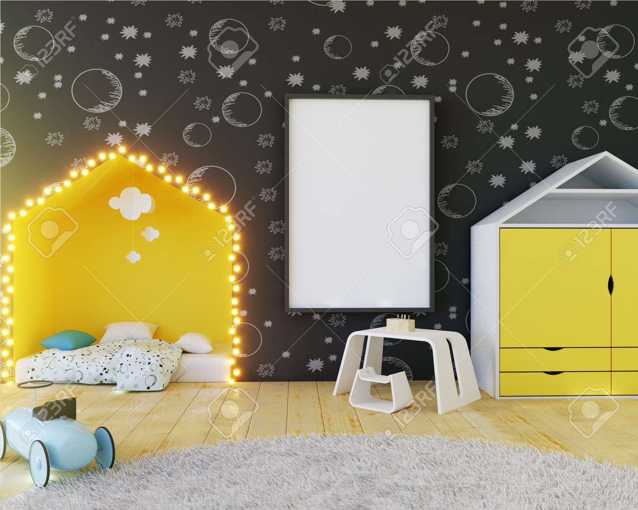 Mock Up Poster Children\'s Color Room, With Light Bulbs. 3d ...