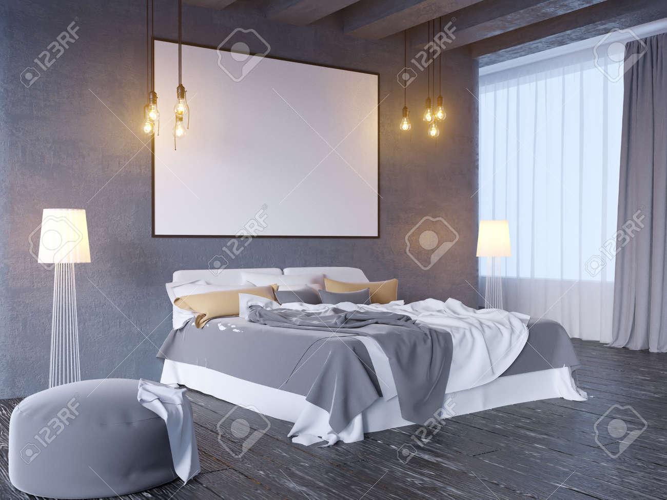 mock up poster with vintage pastel hipster minimalism loft interior..