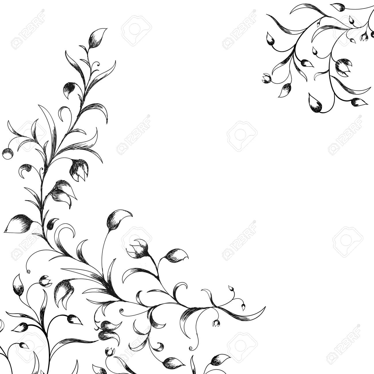 Hand drawn flower border and bouquet. Vector floral elements..