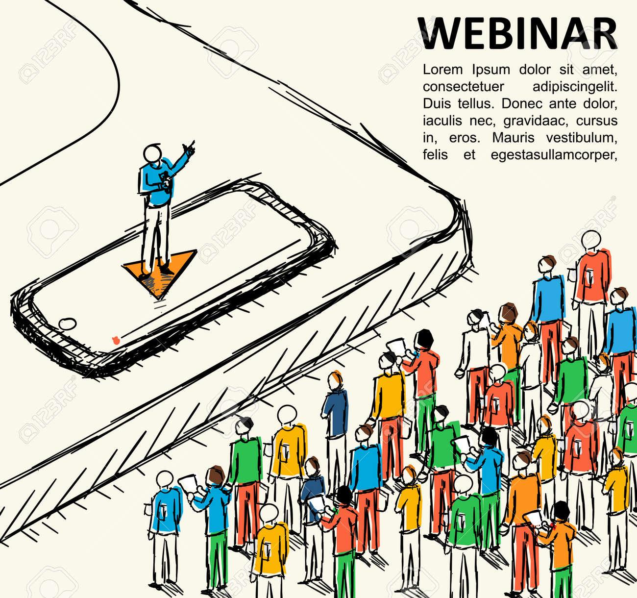 Isometric Graph People Learn Finance Vector Webinar Online School