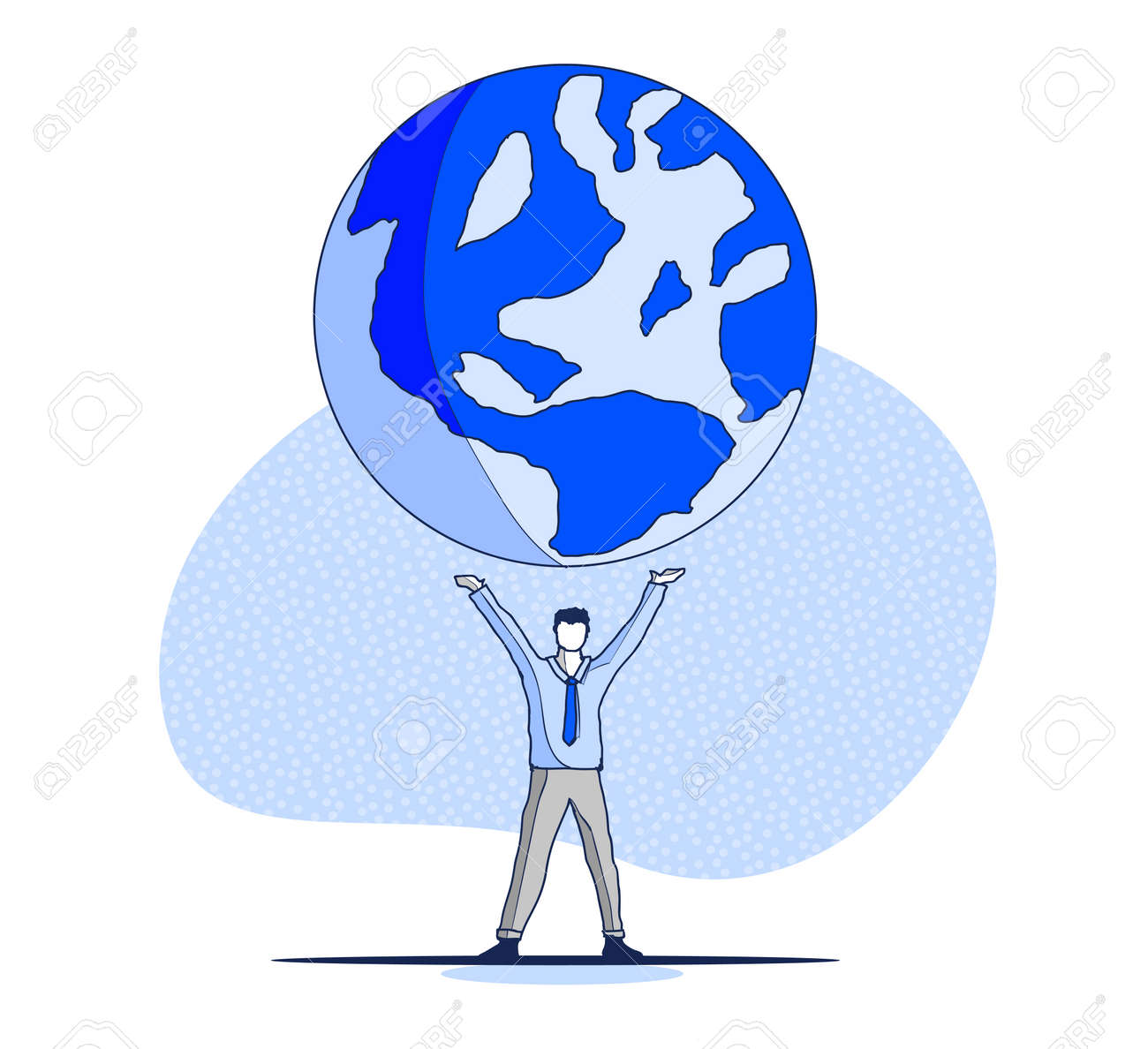 vector hand drawn my planet concept sketch big globe spinning