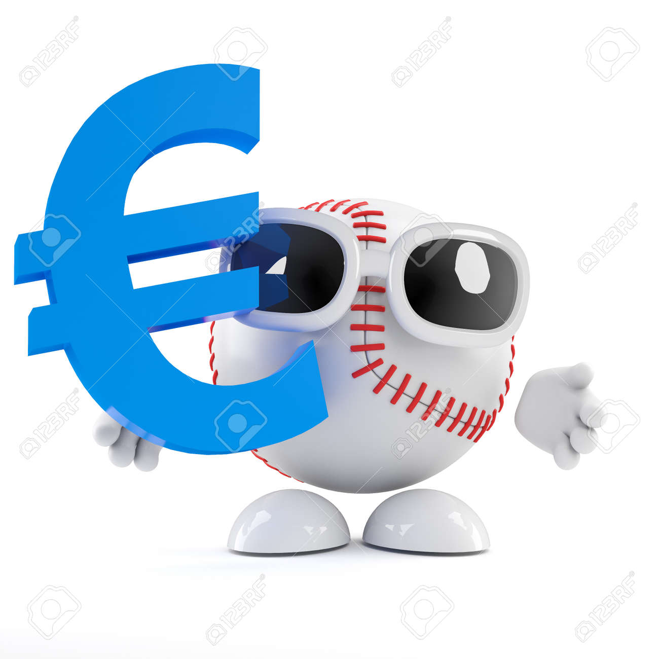 3d Render Of A Baseball Character With A Euro Currency Symbol Stock