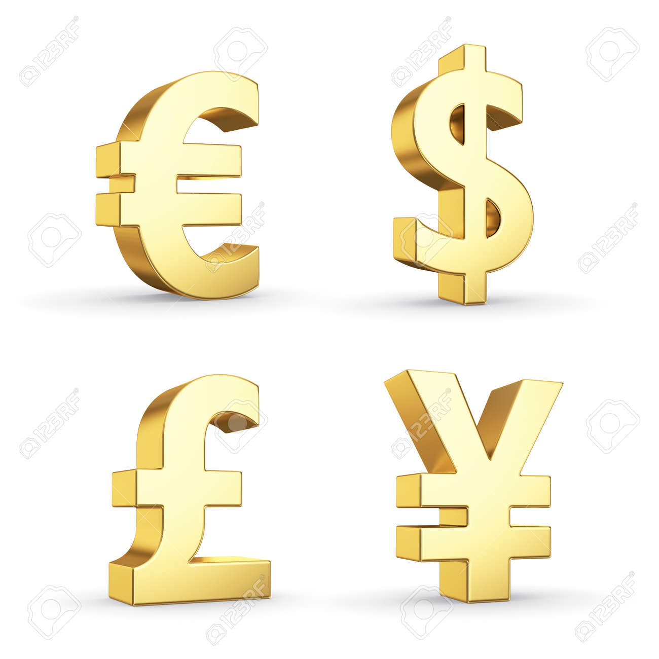 Golden currency symbols isolated on white with clipping path - 20352881